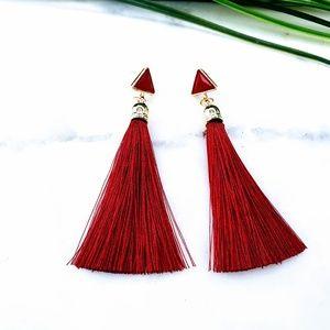 5 for $25 Burgundy Red Tassel Fringe Earrings
